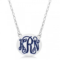 Enameled Monogram Initial Petite Pendant Necklace in Sterling Silver