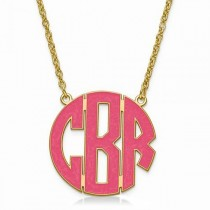 Enameled Circular Monogram Initial Pendant Y Gold over Sterling Silver