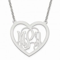 Heart Monogram Initial Plate Pendant Necklace in Sterling Silver