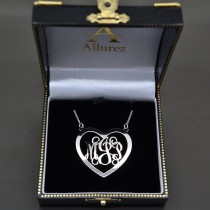 Heart Monogram Initial Pendant Necklace in 14k White Gold|escape