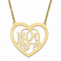 Heart Monogram Initial Pendant Necklace in 14k Yellow Gold