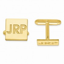 Recessed Letters Monogram Initial Cufflinks Gold over Sterling Silver
