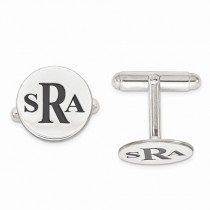 Black Enameled Circle Monogram Initial Cufflinks in Sterling Silver