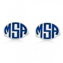 Enameled Oval Monogram Initial Cufflinks in 14k White Gold