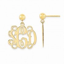 Monogram Initial Drop Dangle Earrings Yellow Gold over Sterling Silver