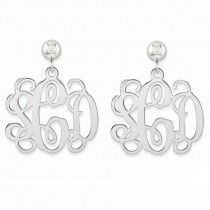 Monogram Initial Drop Dangle Earrings in Plain Metal 14k White Gold