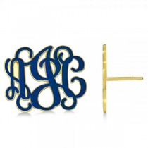 Enamel Monogram Initial Post Earrings Yellow Gold on Sterling Silver