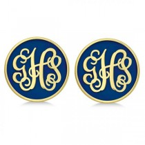 Enamel Monogram Initial Circle Earrings Gold on Sterling Silver