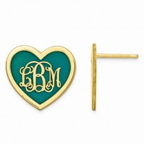 Enameled Heart Monogram Initial Earrings Yellow Gold Vermeil