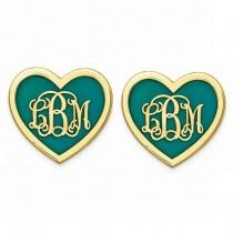Enameled Heart Monogram Initial Earrings Yellow Gold Vermeil