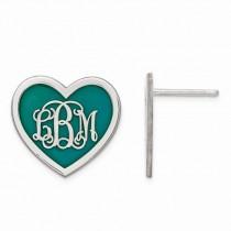 Enameled Heart Monogram Initial Post Earrings in Sterling Silver
