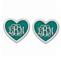 Enameled Heart Monogram Initial Post Earrings in Sterling Silver