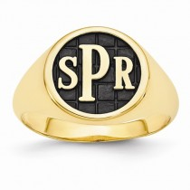 Monogram Initial Signet Fashion Ring Yellow Gold over Sterling Silver