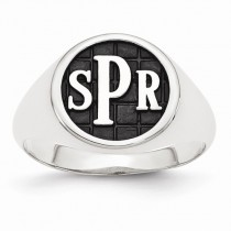 Monogram Initial Signet Fashion Ring in 14k White Gold