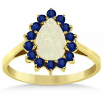 Pear Opal & Blue Sapphire Fashion Ring in 14k Yellow Gold (2.53ct)