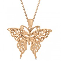 Butterfly Shaped Pendant Necklace 14K Rose Gold