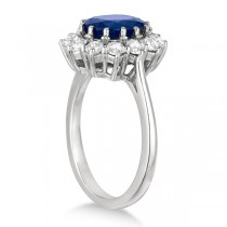 Oval Blue Sapphire & Diamond Accented Ring 18k White Gold (5.40ctw)
