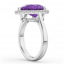 Pear Cut Halo Amethyst & Diamond Engagement Ring 14K White Gold 5.44ct