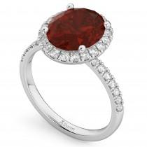 Oval Cut Halo Garnet & Diamond Engagement Ring 14K White Gold 3.31ct - SIZE 5
