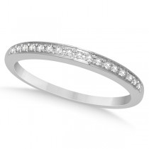 Half Eternity Micro Pave Diamond Wedding Ring 14K White Gold 0.10ctw Size 3.75
