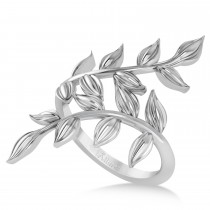 Olive Leaf Vine Plain Metal Fashion Ring 14k White Gold