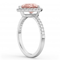 Pear Cut Halo Morganite & Diamond Engagement Ring 14K White Gold 2.51ct