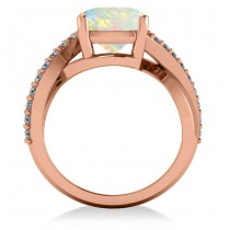 Twisted Cushion Opal Engagement Ring 14k Rose Gold (4.16ct)