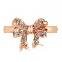 Diamond Ribbon Bow Ring/Wedding Band 14k Rose Gold (0.23ct)