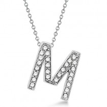 Custom Tilted Diamond Block Letter Initial Necklace in 14k White Gold Letter M