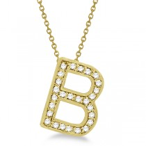 "Custom Tilted Diamond Block Letter ""B"" Initial Necklace in 14k Yellow Gold 16 Inches"