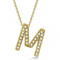 "Custom Tilted Diamond Block Letter ""M"" Initial Necklace in 14k Yellow Gold"