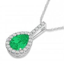 Pear Shape Diamond & Emerald Halo Pendant 14k White Gold 2.20ct|escape