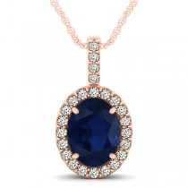 Blue Sapphire & Diamond Halo Oval Pendant Necklace 14k Rose Gold (3.37ct)