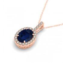 Blue Sapphire & Diamond Halo Oval Pendant Necklace 14k Rose Gold (3.37ct)|escape