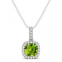 Peridot & Diamond Halo Cushion Pendant Necklace 14k White Gold (0.75ct)