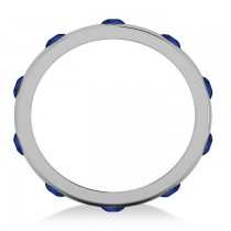 Men's Blue Sapphire Ring Eternity Wedding Band 14k White Gold (1.00ct)