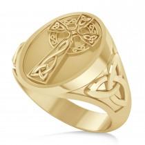 Men's Celtic Signet Irish Cross Ring 14K Yellow Gold