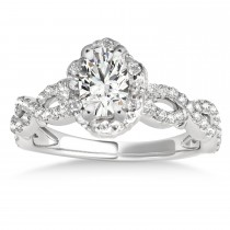 Twisted Halo Moissanite/Diamond Flower Engagement Ring Setting 14k W. Gold 1.06ct