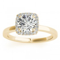 Diamond Halo Engagement Ring Setting 14k Yellow Gold (0.10ct)