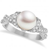 Freshwater Cultured Pearl & Diamond Ring 14k White Gold .25ctw (8mm)