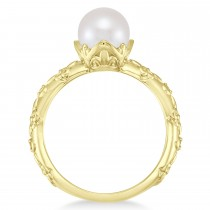 Vintage-Inspired Freshwater Pearl & Diamond Ring 14k Yellow Gold (7.0-7.5mm)|escape