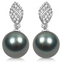 Tahitian Cultured Pearl & Diamond Drop Earrings 14K White Gold 12mm
