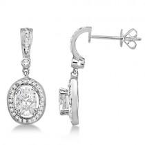 Oval Shaped Moissanite & Round Diamond Earrings 14K White Gold 1.97ctw