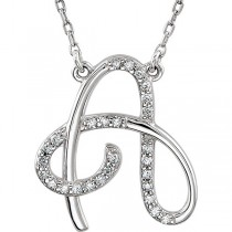 Personalized Diamond Cursive A Initial Pendant Necklace 14k White Gold