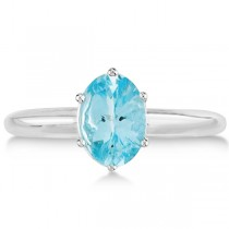 Oval Shaped Solitaire Aquamarine Gemstone Ring 14k White Gold 1.17ct