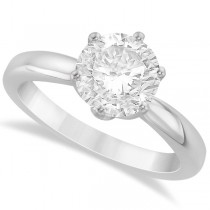 Round Solitaire Moissanite Engagement Ring 14K White Gold 2.00ctw