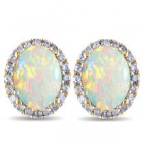 Oval Opal & Halo Diamond Stud Earrings 14k Yellow Gold 2.60ct|escape