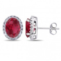 Oval Ruby & Halo Diamond Stud Earrings 14k White Gold 4.80ct