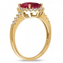 Oval Ruby & Halo Diamond Engagement Ring 14k Yellow Gold 3.57ct|escape