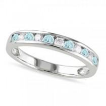 Channel Set Round Aquamarine & Diamond Wedding Band 14k White Gold (0.50ct)
